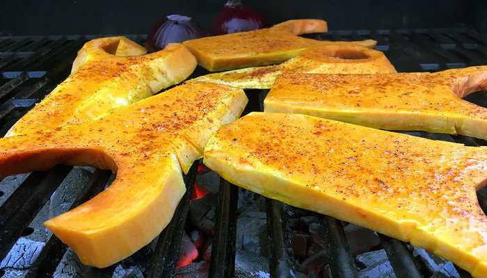 Butternut squash on the grill