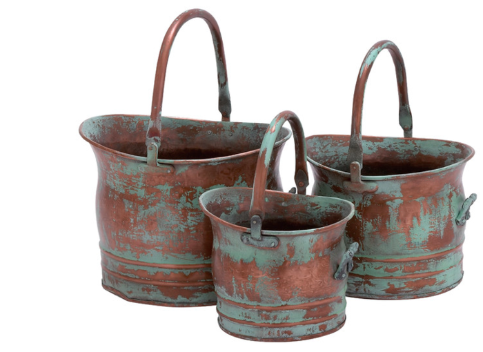 3-Piece Rustic Metal Planter Set Gift Idea