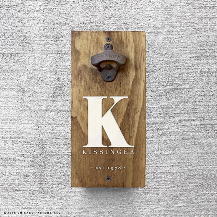 Personalized Bottle Opener Wall Mount Gift Idea